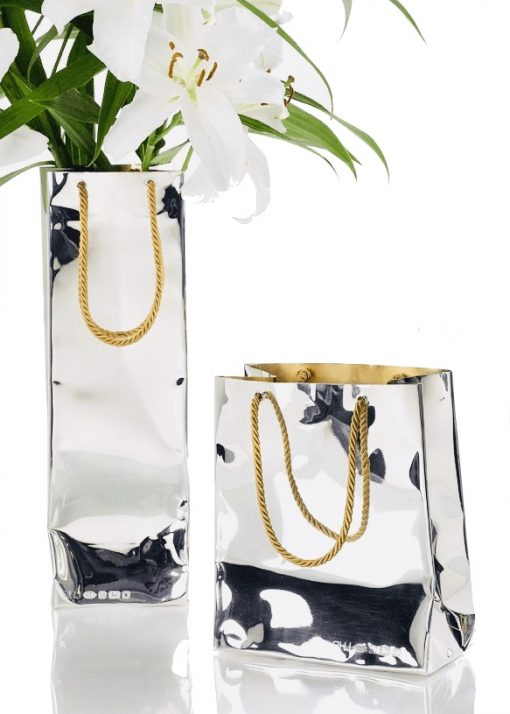 Silver 'Bottle Bag' Vase by Rebecca Joselyn by Sheffield Silversmith and Jeweller Made in Sheffield South Yorkshire