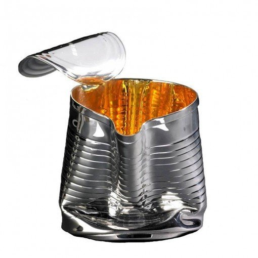 Silver 'Crushed Can' Jug by Sheffield Silversmith and Jeweller Rebecca Joselyn