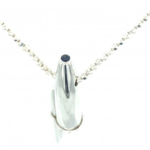 Rebecca Joselyn Silversmith and Jeweller Sheffield Silver Pen Top Pendant.Blue Sapphire