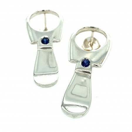 Silver Ring Pull Earrings with Blue Sapphire