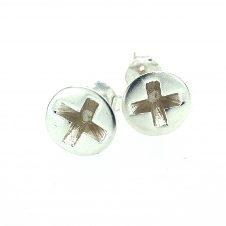 silver screw earrings by Sheffield Silversmith and Jeweller Rebecca Joselyn