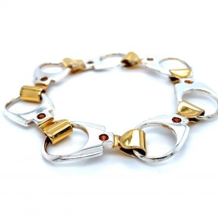 Silver 'Ring Pull' Bracelet Silver with Gold Plate by Sheffield Silversmith and Jeweller Rebecca Joselyn