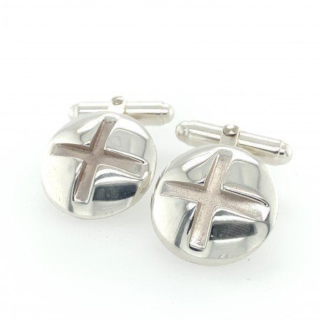 Silver Screw Head Cuff Links