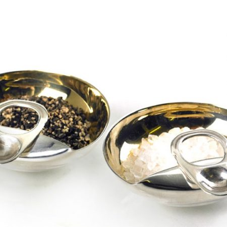 Silver 'Ring Pull' Salt and Pepper Set by Rebecca Joselyn Silversmith and Jeweller handmade in Sheffield South Yorkshire