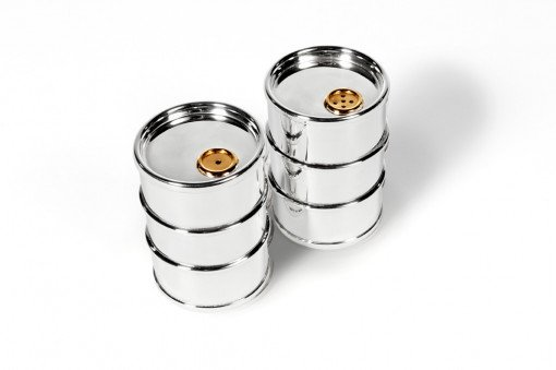 Silver Salt and Pepper 'Oil Drum' by Sheffield Silversmith and Jeweller Rebecca Joselyn