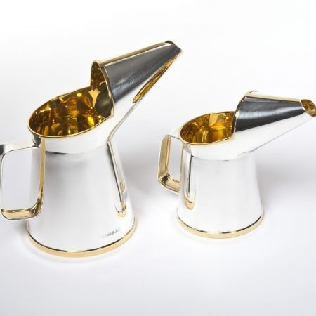Silver 'Oil Jug' Half Pint and One Pint by Rebecca Joselyn Silversmith and Jeweller handmade in Sheffield South Yorkshire