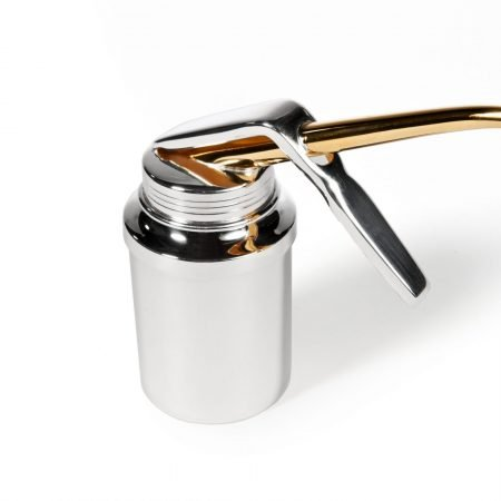 Hand Held Silver 'Oil' Can by Rebecca Joselyn Silversmith and Jeweller handmade in Sheffield South Yorkshire