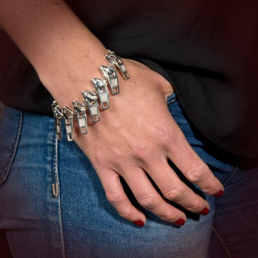 Silver 'Zip' Bracelet by Rebecca Joselyn Silversmith and Jeweller handmade in Sheffield South Yorkshire