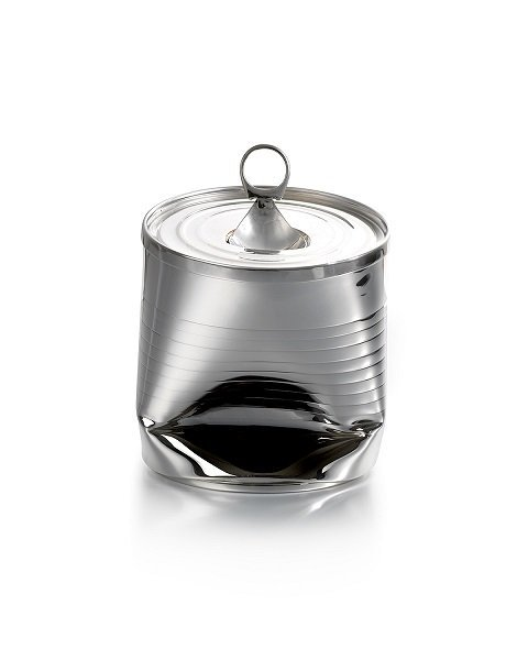 Silver 'Crushed Can' Tea Caddy by Rebecca Joselyn Silversmith and Jeweller handmade in Sheffield South Yorkshire