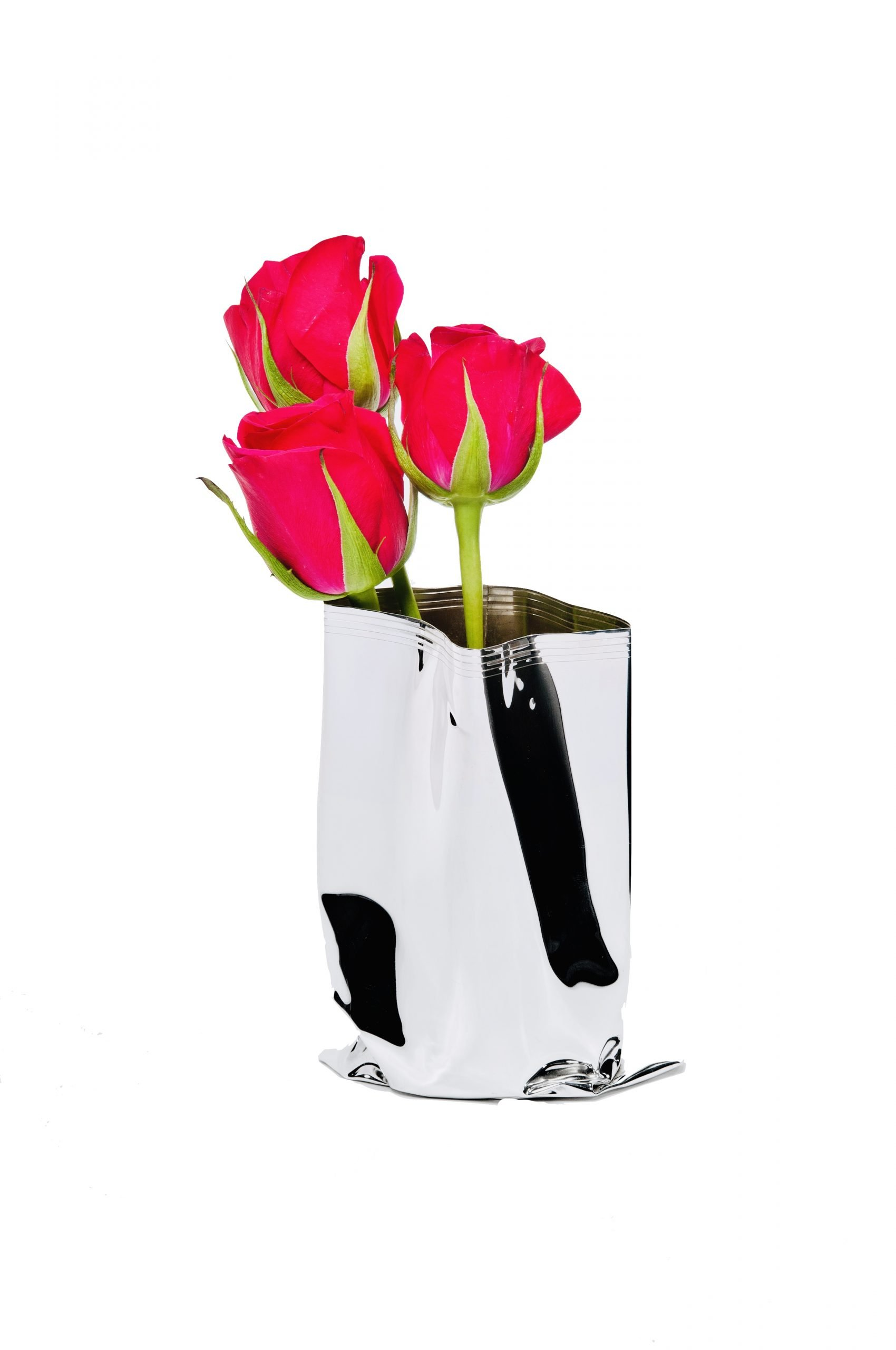 Medium Silver 'Packet Vase' by Rebecca Joselyn Silversmith and Jeweller Made in Sheffield South Yorkshire