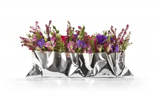 Long Silver 'Packet' Vase by Sheffield Silversmith and Jeweller Rebecca Joselyn
