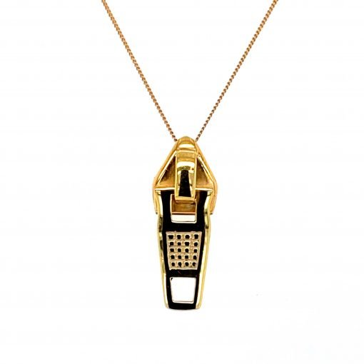 Silver 'Zip' Pendant with Gold Plate by Rebecca Joselyn Silversmith and Jeweller handmade in Sheffield South Yorkshire