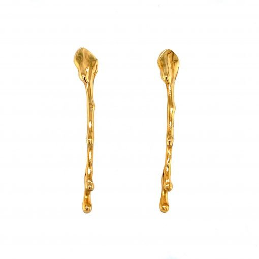 Silver 'Drip Earrings' Gold Plate by Sheffield Silversmith and Jeweller Rebecca Joselyn