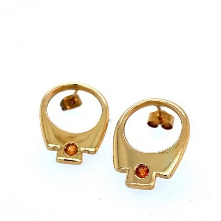 Silver 'Tab Earrings' Gold Plate and Citrine by Sheffield Silversmith and Jeweller Rebecca Joselyn