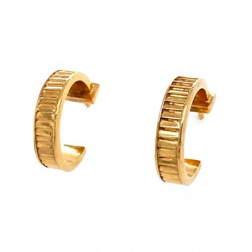 Silver 'Cable Tie' Earrings Gold Plated by Sheffield Silversmith and Jeweller Rebecca Joselyn