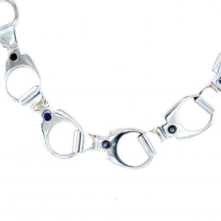 Silver 'Ring Pull' Necklace with Precious StonesSheffield Silversmith and Jeweller Rebecca Joselyn