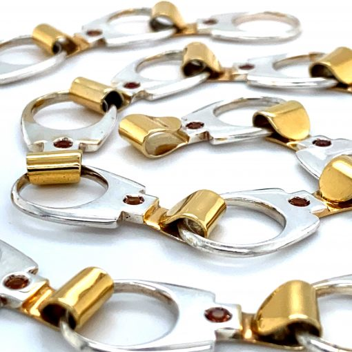 Silver 'Ring Pull' Necklace with Gold Plate and Citrine Stones by Rebecca Joselyn Silversmith and Jeweller handmade in Sheffield South Yorkshire