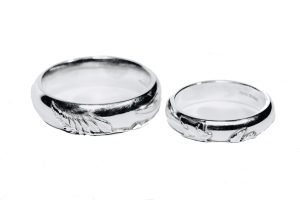 A Pair of Silver White Gold Weddings Rings by Sheffield Silversmith and Jeweller Rebecca Joselyn