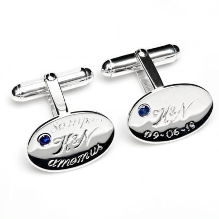Bespoke Silver Cufflinks with Blue Sapphire by Sheffield Silversmith and Jeweller Rebecca Joselyn
