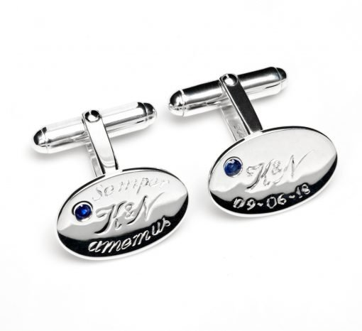 Bespoke Silver Cufflinks with Blue Sapphire by Rebecca Joselyn Silversmith and Jeweller Made in Sheffield South Yorkshire