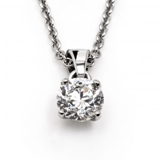 Bespoke Platinum One Carat Diamond Necklace by Rebecca Joselyn Silversmith and Jeweller Made in Sheffield South Yorkshire