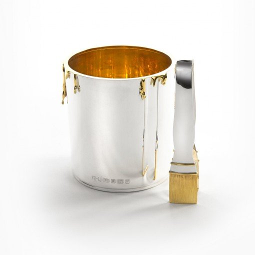 Silver 'Paint Pot' Ice Bucket with Tongs by Rebecca Joselyn by Sheffield Silversmith and Jeweller Made in Sheffield South Yorkshire