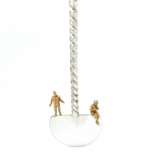 Silver 'People' Cocktail Stirrer Swizzle Stick by Sheffield Silversmith and Jeweller Rebecca Joselyn