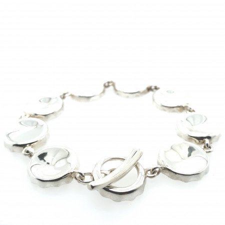 Rebecca Joselyn Silversmith and Jeweller Sheffield Silver Bottle Top Bracelet.T Bar