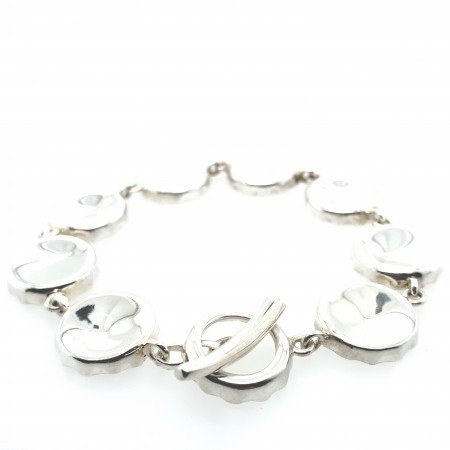 Silver Bottle Top Bracelet by Rebecca Joselyn Silversmith and Jeweller Sheffield