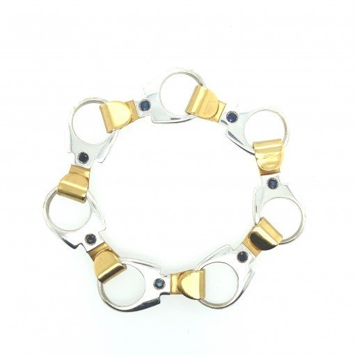 Rebecca Joselyn Silversmith and Jeweller Sheffield Silver Ring Pull Bracelet Gold Plate. Blue Sapphire