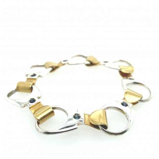 Rebecca Joselyn Silversmith and Jeweller Sheffield Silver Ring Pull Bracelet Gold Plate. Blue Sapphires