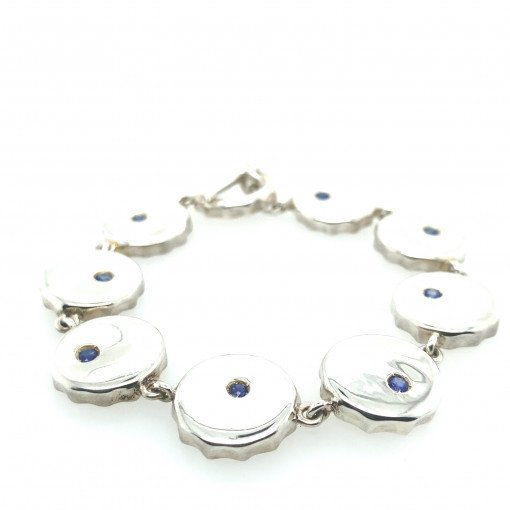 Silver Bottle Top Bracelet with Blue Sapphire