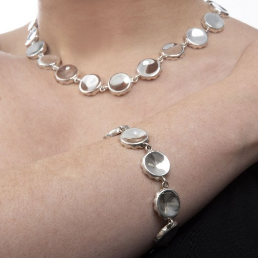 Silver Bottle Top Necklace and Bracelet by Rebecca Joselyn