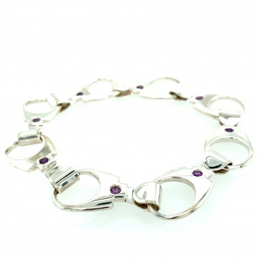 Ring Pull Bracelet Silver with Amethyst by Rebecca Joselyn Silversmith and Jeweller Made in Sheffield South Yorkshire