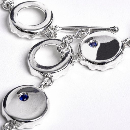 Silver Bottle Top Chain and Blue Sapphires