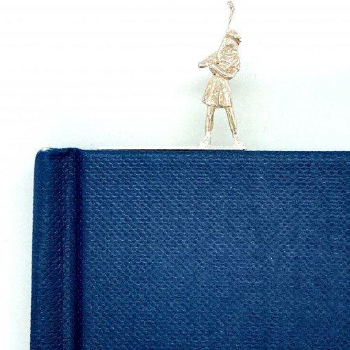 Silver Bookmark 'Golfer George' by Rebecca Joselyn by Sheffield Silversmith and Jeweller Rebecca Joselyn Made in Sheffield South Yorkshire