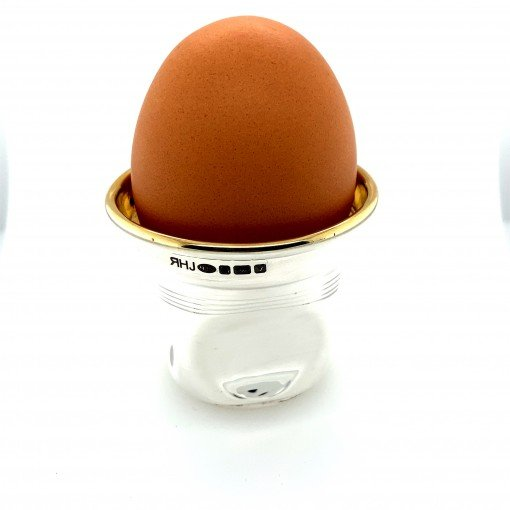 Silver 'Crushed' Silver Egg Cup and Spoon by Rebecca Joselyn Silversmith and Jeweller Made in Sheffield South Yorkshire
