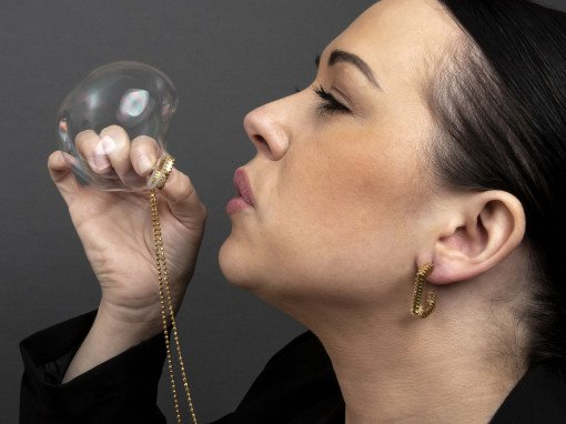 Bubble Blower Necklace Blowing bubbles by Rebecca Joselyn
