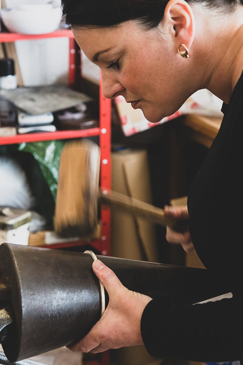 Working in the workshop at the Bench Rebecca Joselyn Silversmith and Jeweller Made in Sheffield South Yorkshire