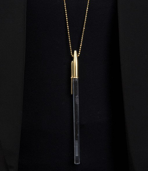 Gold Plated Silver Pen top Pendant Necklace in Silver by Rebecca Joselyn Silversmith and Jeweller Made in Sheffield South Yorkshire