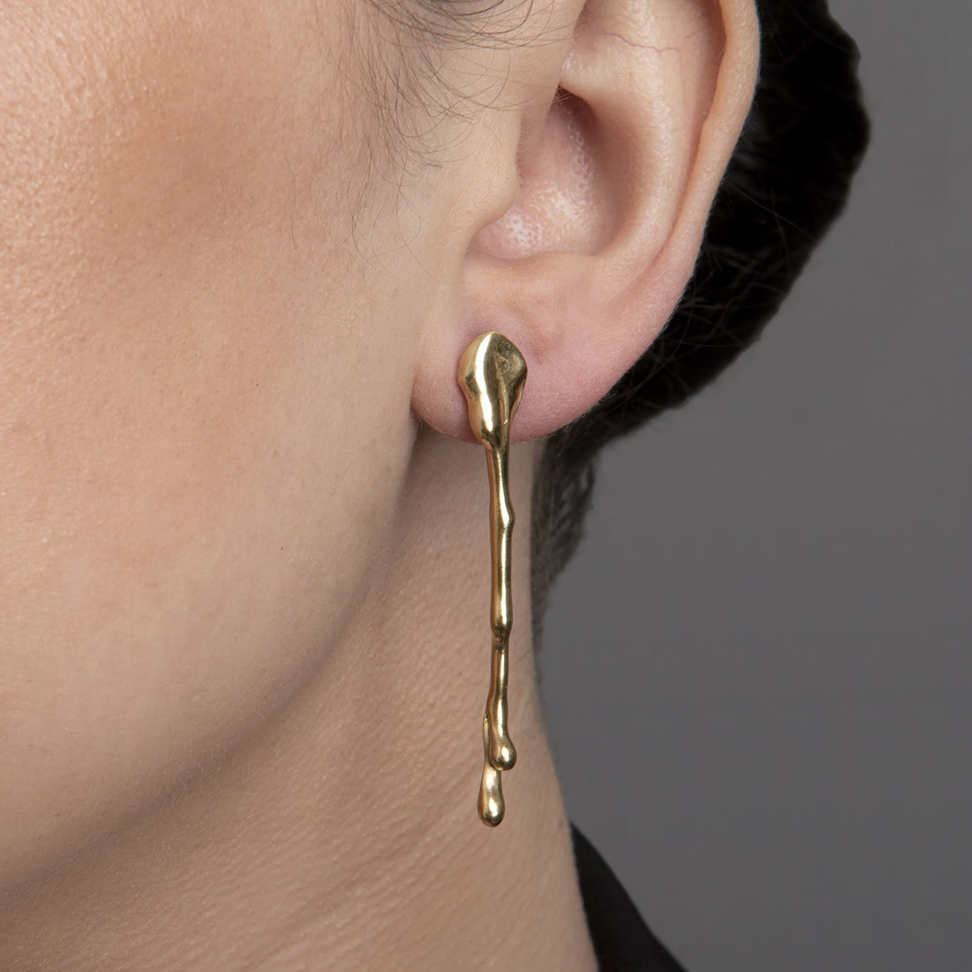 Silver Drip Earrings with Gold Plate by Sheffield Silversmith and Jeweller Rebecca Joselyn