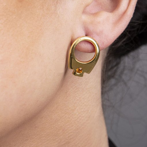 Gold on Silver Tab Earrings by Sheffield Silversmith and Jeweller Rebecca Joselyn
