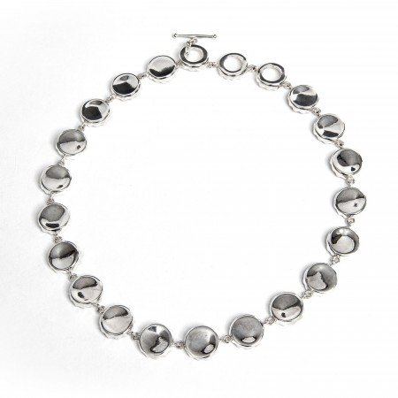 Silver Bottle Top Statement Necklace