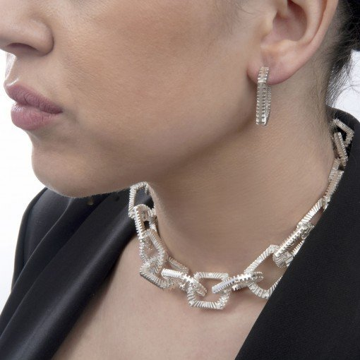 Silver Chain Necklace Silver Zip Bracelet by Silversmith and Jeweller Rebecca Joselyn Sheffield Silversmith and Jeweller Made in Sheffield South Yorkshire