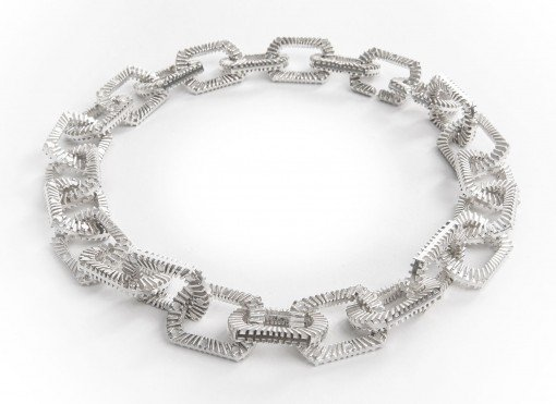 Silver Statement Necklace Silver Zip Bracelet by Silversmith and Jeweller Rebecca Joselyn Sheffield Silversmith and Jeweller Made in Sheffield South Yorkshire