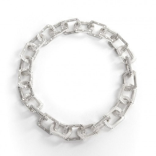 Statement Necklace Silver Bubble Blower Chain Necklace Silver Zip Bracelet by Silversmith and Jeweller Rebecca Joselyn