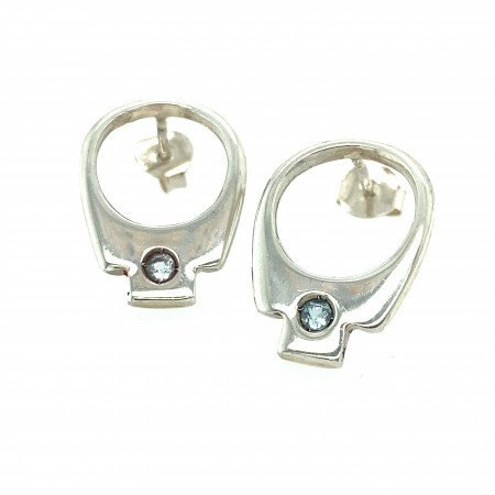 silver tab earrings by Rebecca Joselyn sheffield silversmith and jeweller