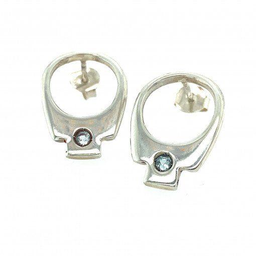 silver tab earrings by Rebecca Joselyn sheffield silversmith and jeweller