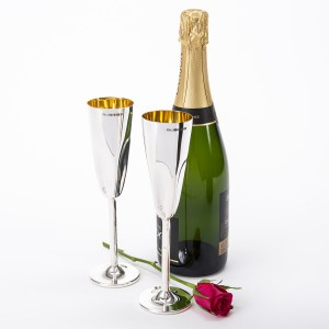Silver Champagne Flutes by Rebecca Joselyn