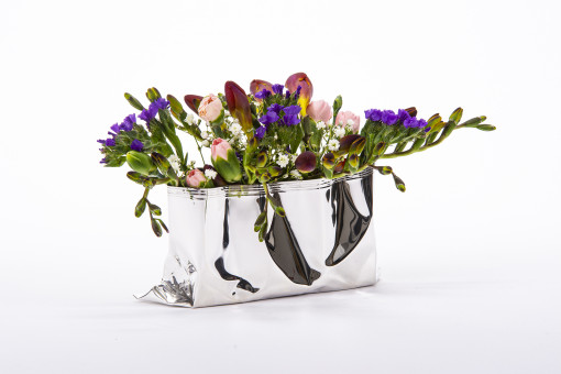 Silver Packet Vase in a small size by Rebecca Joselyn handmade silverware piece made in Sheffield